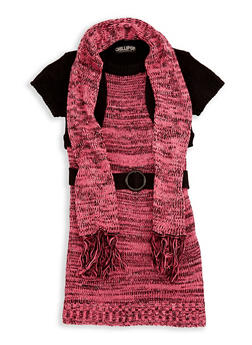 Girls 7-16 Shrug Sweater Dress with Scarf - 3625038340063