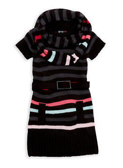 Girls 6x-16 Multi Stripe Sweater Dress with Infinity Scarf - 3625038340064