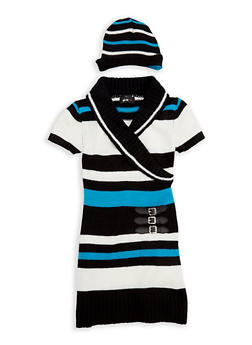 Girls 7-16 Faux Wrap Sweater Dress with Hat - 3625038340065