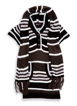 Girls 7-16 Hooded Sweater Dress with Scarf - 3625038340066