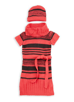 Girls 7-16 Striped Knit Sweater Dress with Hat - 3625038340067