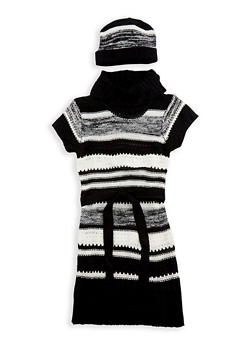 Girls 7-16 Striped Knit Sweater Dress with Hat - 3625038340068