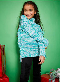 Girls 7-16 Cowl Neck Sweater with Fringe Trim - 3625054730032