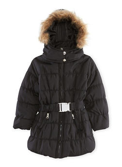 Girls 4-6x Belted Puffer Jacket with Hood - 3626038340005