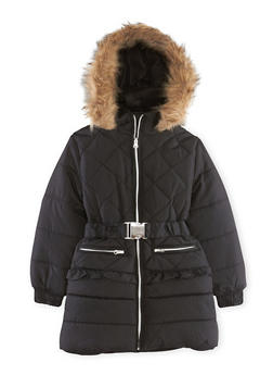 Girls 4-6x Belted Puffer Jacket with Hood - 3626038340006