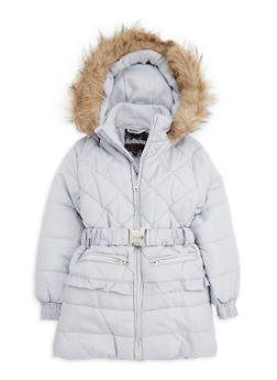 Girls 4-6x Quilted Long Puffer Jacket with Belt - 3626038340010