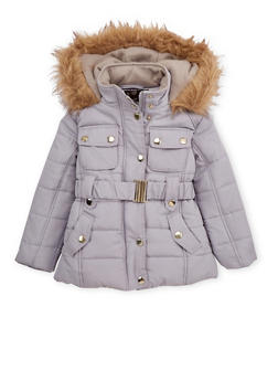 Girls 4-6x Belted Puffer Jacket - 3626038340012