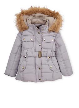 Girls 4-6x Belted Puffer Jacket - 3626038340012