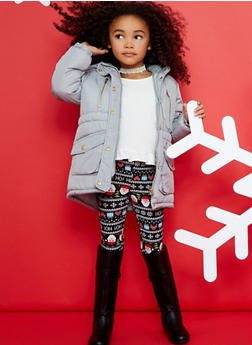 Girls 4-6x Cinched Waist Puffer Jacket - 3626038340015