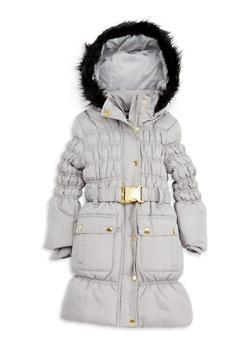 Girls 4-6x Long Bubble Jacket with Faux Fur Hood - 3626038340016