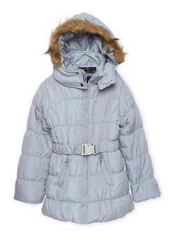 Girls 4-6x Belted Zip Puffer Jacket - 3626038340017