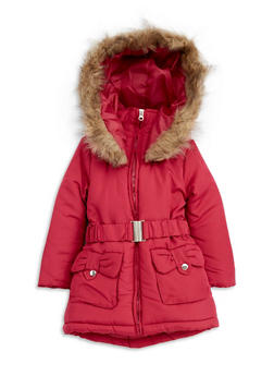 Girls 4-6x Bubble Jacket with Faux Fur Hood - 3626038340018
