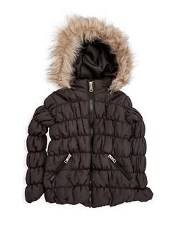 Girls 4-6x Black Ruched Bubble Jacket - 3626051060017