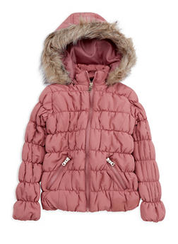Girls 4-6x Mauve Ruched Bubble Jacket - 3626051060018