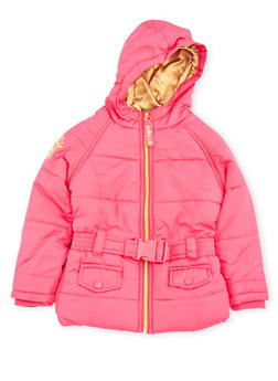 Girls 4-6x Pelle Pelle Hooded Puffer Jacket with Belt - 3626068320004