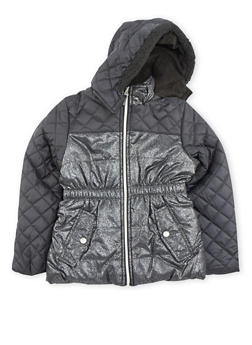 Girls 4-6x Quilted Puffer Jacket with Fleece Hood - 3626071520015