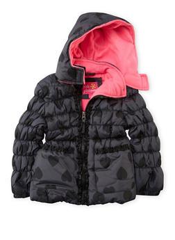 Girls 4-6x Heart Print Puffer Coat with Ruffles - 3626071520019