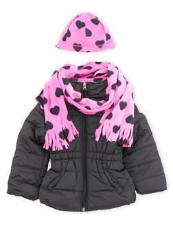 Girls 4-6x Puffer Jacket with Scarf and Beanie - 3626071520020