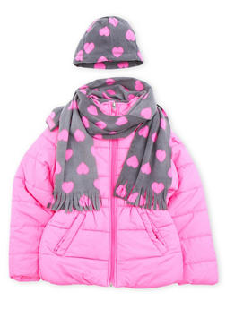 Girls 4-6x Puffer Coat with Scarf and Hat - 3626071520021