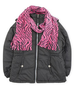 Girls 4-6x Hooded Puffer Coat with Hat and Scarf - 3626071520023