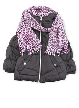 Girls 4-6x Puffer Coat with Leopard Print Hood Scarf and Beanie - 3626071520024