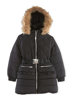 Girls 5-16 Puffer Coat with Faux Fur Trimmed Hood - 3627038340005