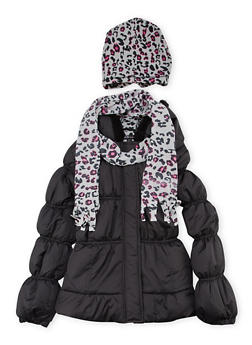 Girls 7-16 Hooded Puffer Coat with Hat and Scarf - 3627038340016