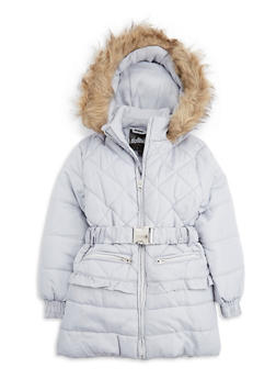 Girls 7-16 Long Quilted Puffer Jacket with Belt - 3627038340019