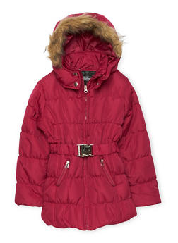 Girls 7-16 Belted Zip Puffer Jacket - 3627038340020