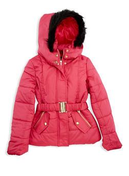 Girls 7-16 Fuchsia Belted Puffer Coat - 3627038340028