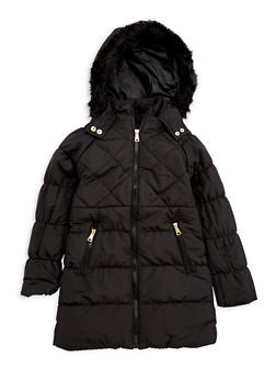Girls 7-16 Quilted Faux Fur Jacket - 3627051060015