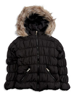 Girls 7-16 Black Bubble Jacket - 3627051060021