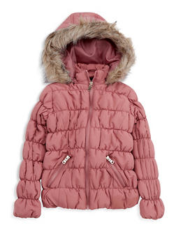 Girls 7-16 Mauve Ruched Bubble Jacket - 3627051060022