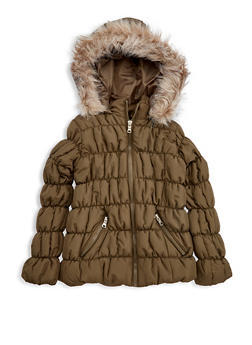 Girls 7-16 Olive Ruched Bubble Jacket - 3627051060023