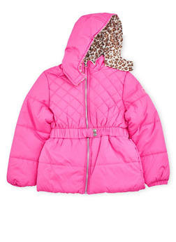 Girls 7-16 Quilted Puffer Coat with Cheetah Print Hood - 3627071520009
