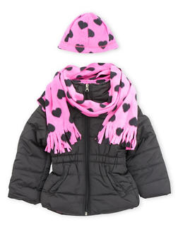 Girls 7-16 Puffer Jacket with Scarf and Beanie - 3627071520012