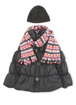 Girls 7-16 Hooded Puffer Coat with Printed Scarf - 3627071520014