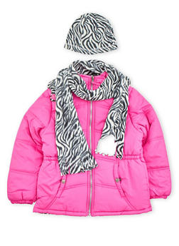 Girls 7-16 Puffer Jacket with Printed Hat and Scarf - 3627071520015