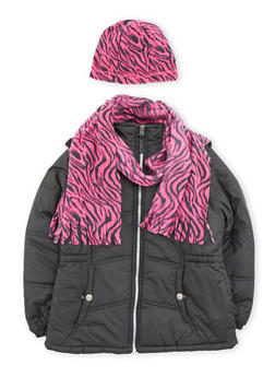 Girls 7-16 Puffer Coat with Printed Hat and Scarf - 3627071520016