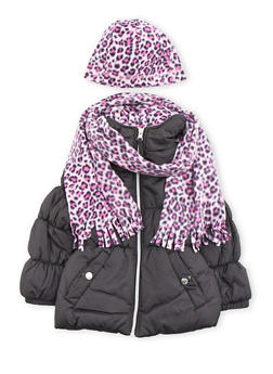 Girls 7-16 Hooded Puffer Coat with Hat and Scarf - 3627071520017