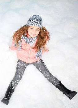 Girls 7-16 Hooded Puffer Coat with Printed Hat and Scarf - 3627071520018