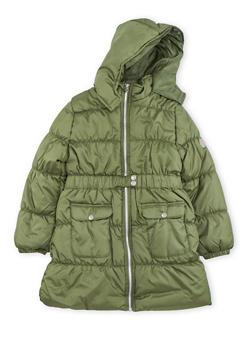 Girls 7-16 Long Belted Puffer Coat - 3627071520019