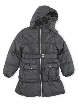 Girls 7-16 Long Puffer Coat with Belt - 3627071520020