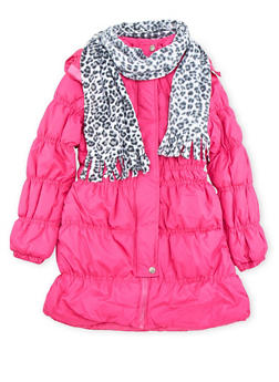 Girls 7-16 Hooded Puffer Coat with Printed Scarf - 3627071520021