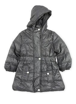 Girls 7-16 Long Shimmer Puffer Jacket - 3627071520023