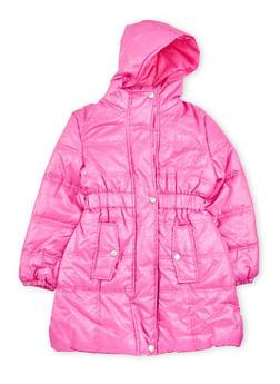 Girls 7-16 Puffer Coat with Metallic Finish - 3627071520024