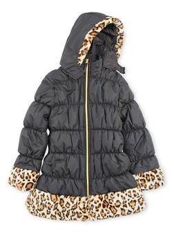 Girls 7-16 Hooded Puffer Coat with Faux Fur Trim - 3627071520025