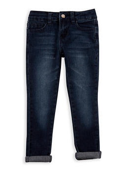 Girls 4-6x Roll Cuff Skinny Jeans - MEDIUM WASH - 3628056720011