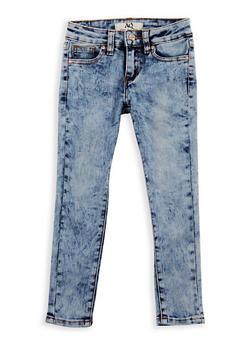 Girls 4-6x Acid Wash Skinny Jeans - LIGHT WASH - 3628056720013