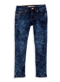 Girls 4-6x Acid Wash Skinny Jeans - DARK WASH - 3628056720013